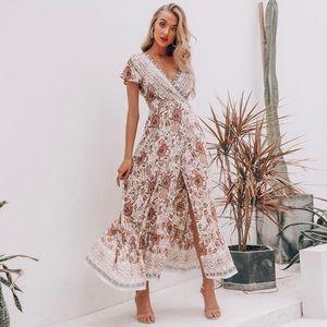 NEW Floral Long Wrap BOHO Summer Maxi Dress